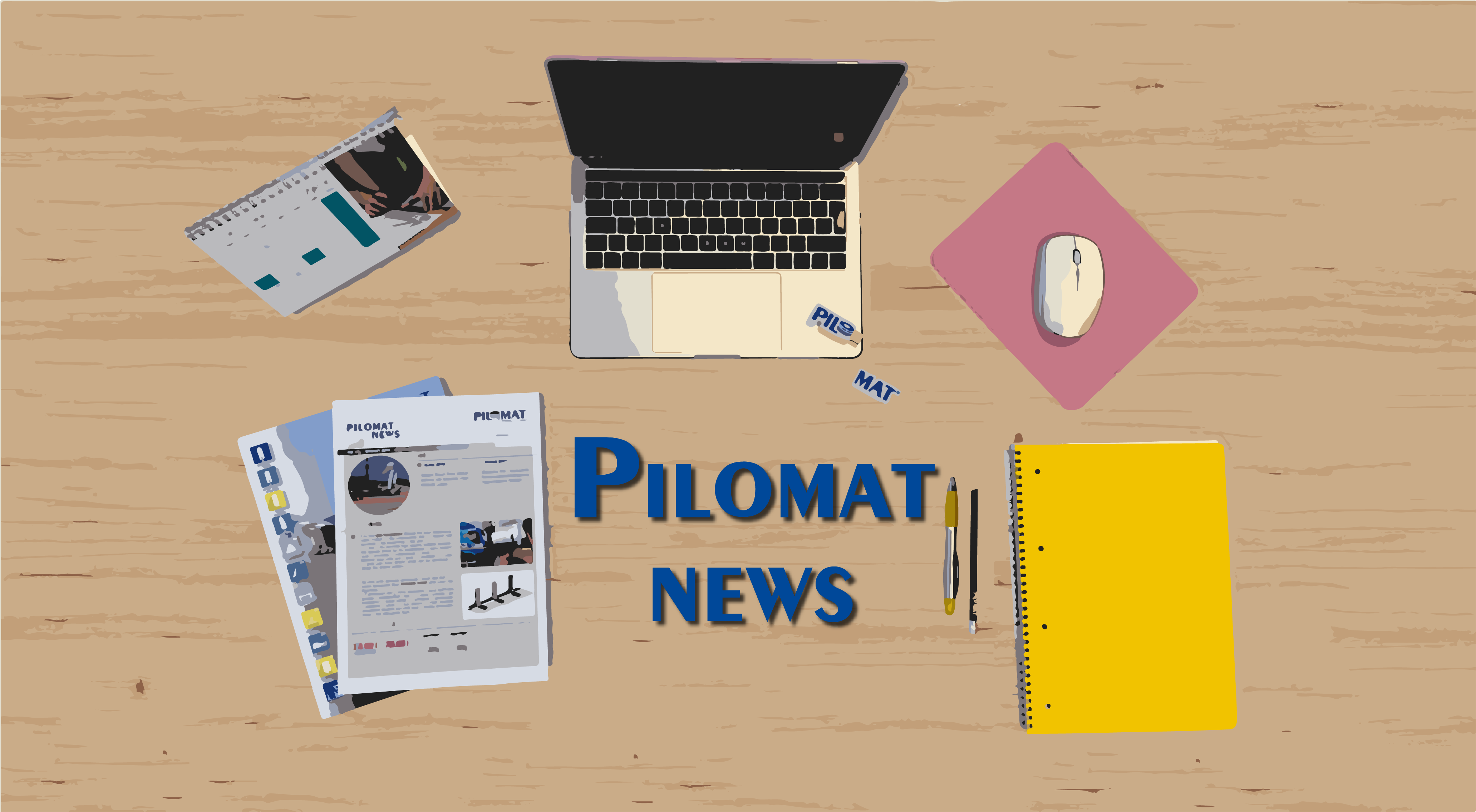 Pilomat News image showing a desk and the tools of the editor: laptop, calendar, papers and pen