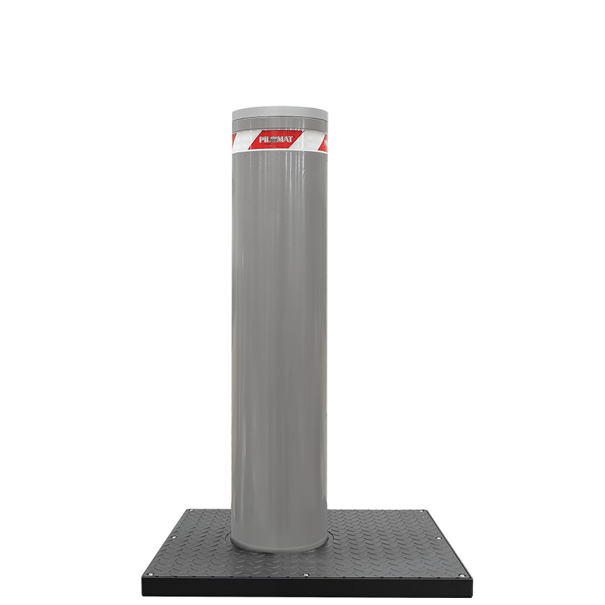 Picture showing a retractable electromechanical bollard manufactured by Pilomat