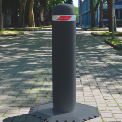 Temporary bollard placed at the entrance of a pedestrian area