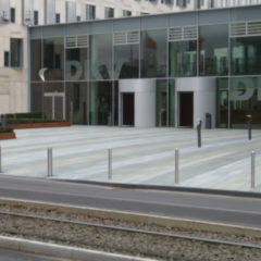pilomat fixed stainless steel bollard in commercial area